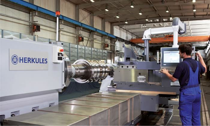 Newly developed heavy duty lathe P 500 Power for Badische Stahlwerke GmbH
